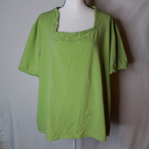 Liz & Me Tops - Plus Size 5X Short Sleeve Green Stretchy Top